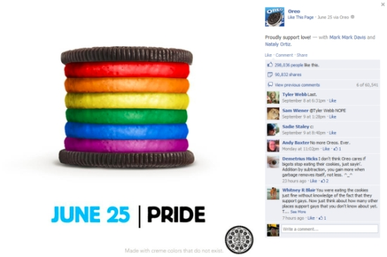 Oreo cookies supporting Pride day