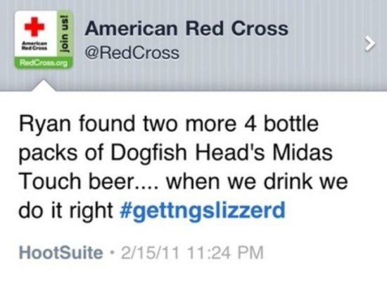 Red Cross rogue tweet about drinking