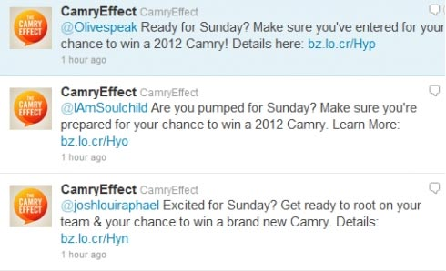 Camry Effect campaign - spamming Twitter users