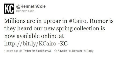 Kenneth Cole - Cairo tweet